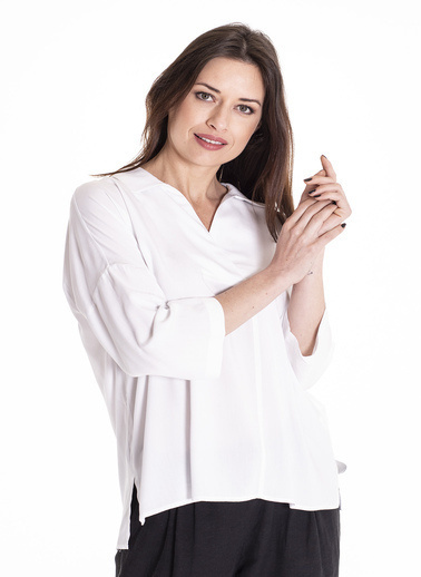 Stamina Turvakar Kollu Bluz Beyaz